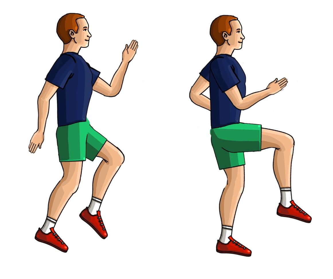 Bieg w miejscu  z kolanami wysoko